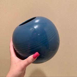 Vintage Art Deco round blue vase